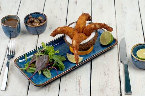 Fried Food on Blue Ceramic Plate