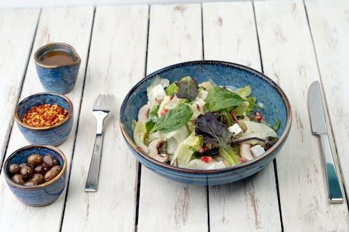 Vegetable Salad in Blue Ceramic Bowl
