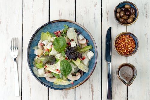 Vegetable Salad on Blue Ceramic Bowl