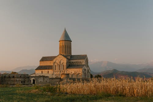 Old stone cathedral located in countryside