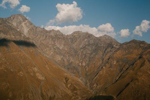 Mountain range with steep ridges in highland