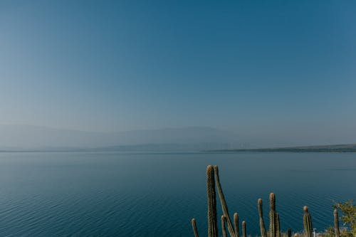 Blue sea surface with hills on horizon