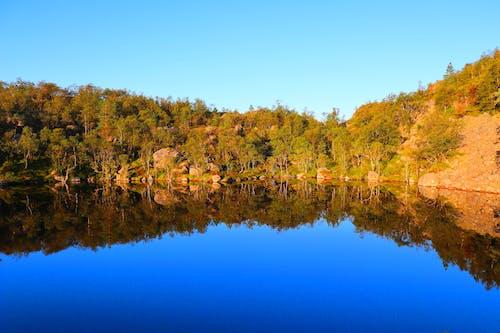 Free stock photo of blue lake, brown rocks