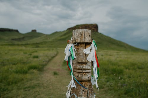 Wooden idol with wish ribbons on grassy path
