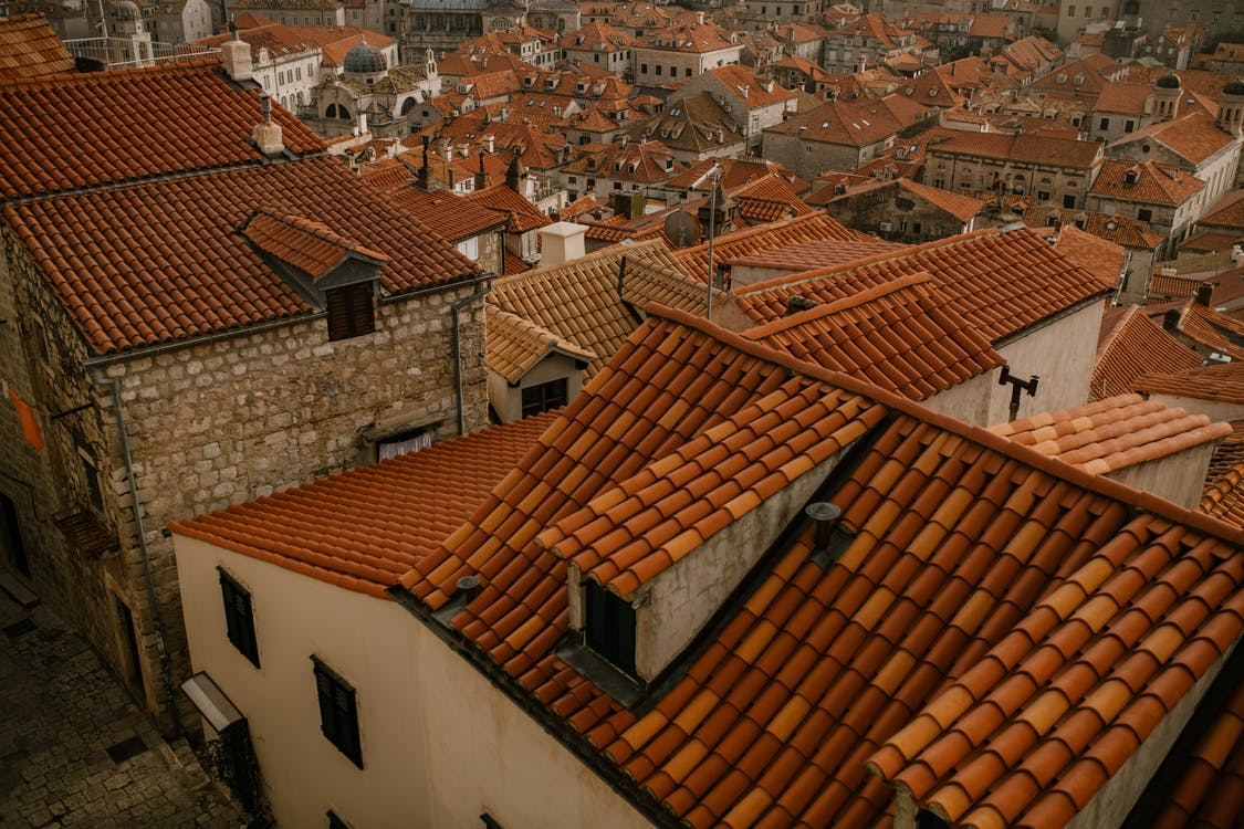 an aerial view of stone coated steel roof