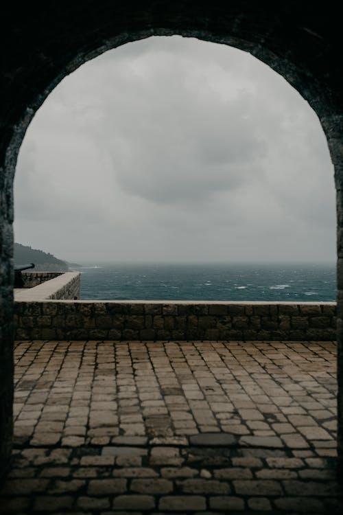Arched stone passage of masonry fortress
