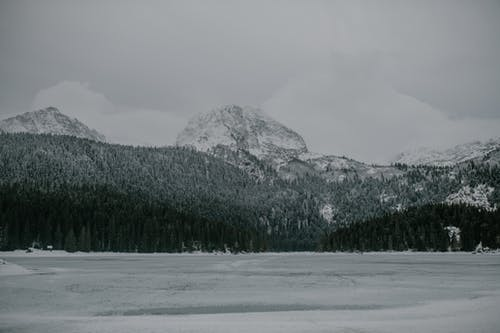 Scenic view of rough mountains under snow near coniferous frozen forest and spacious lake covered with ice on cold cloudy weather