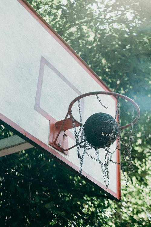 Basketball on Basketball Hoop