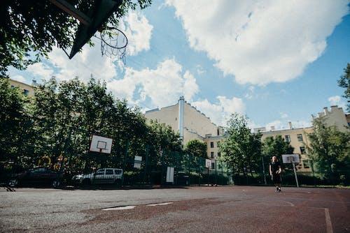 Gratis lagerfoto af aan lichtbak toevoegen, arkitektur, basketballbane