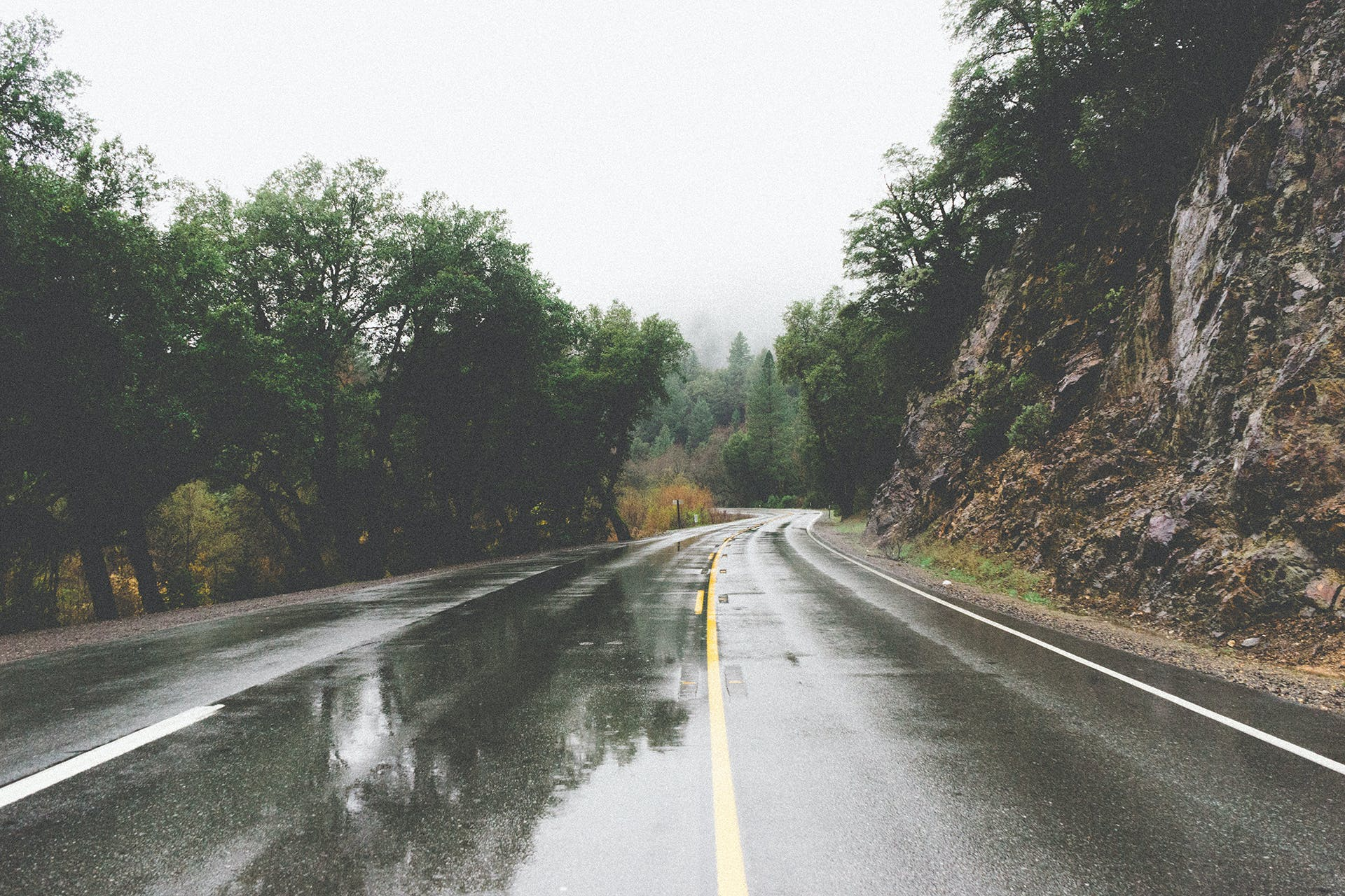 Free stock photo of road, curve, bend, rainy