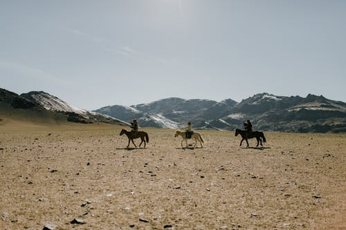 Ethnic equestrians walking along dry desert terrain covered with little stones with rocky mountains on background