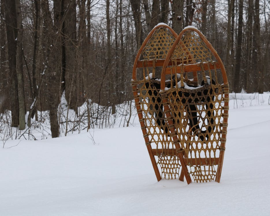 Brown Wooden Hanging Bird Cage on Snow Covered Ground