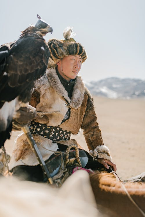 Young Mongolian man with eagle riding horse