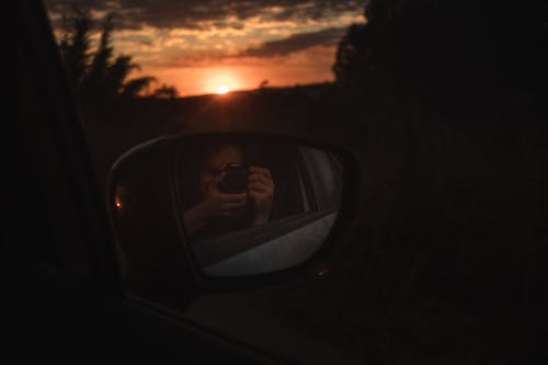 Бесплатное стоковое фото с автомобиль, закат, зеркало, Искусство