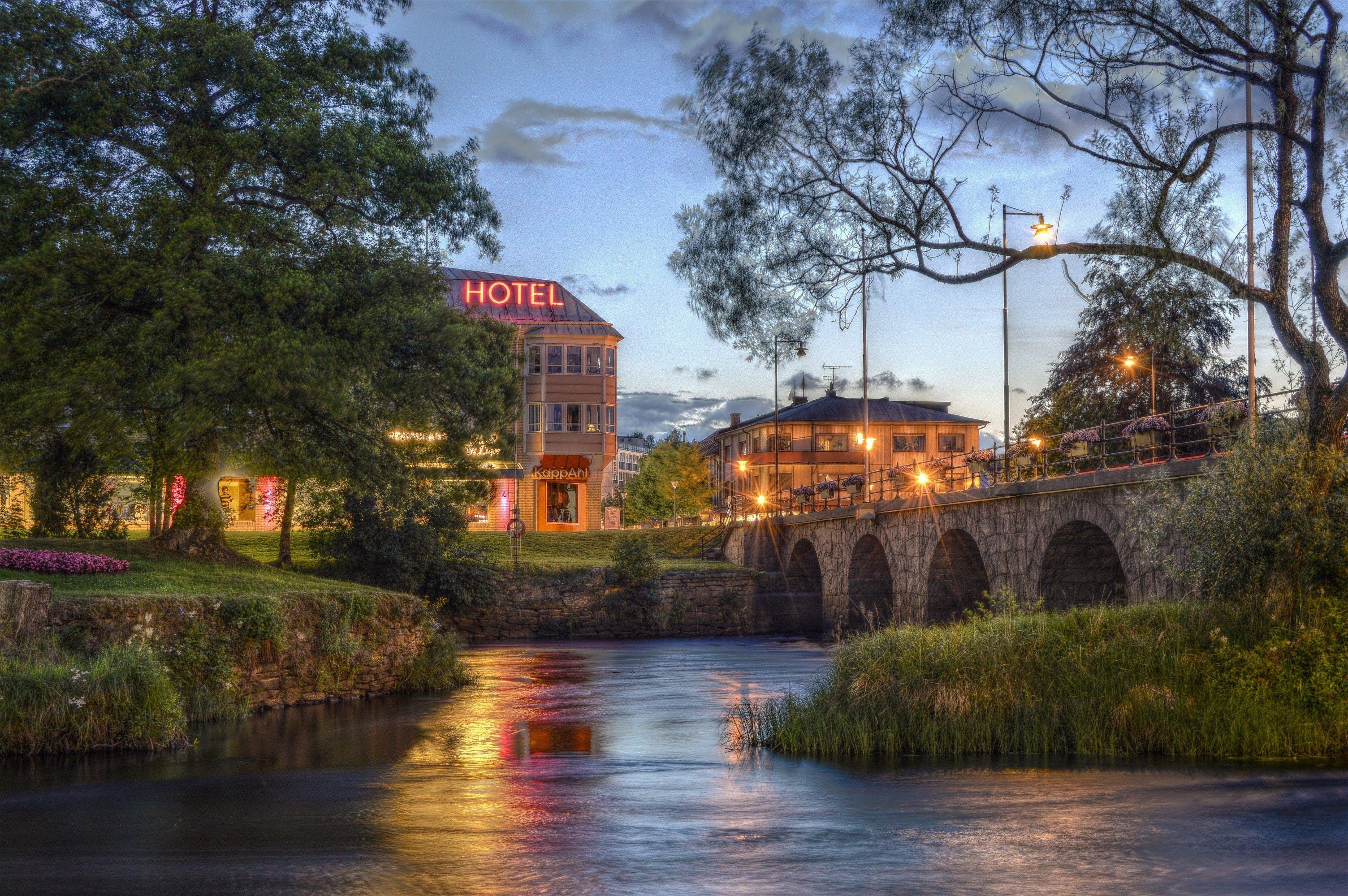 River Near Bridge Beside Hotel