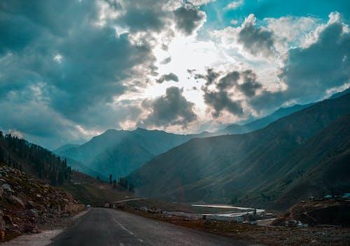 Free stock photo of autumn, blue mountains, blue sky