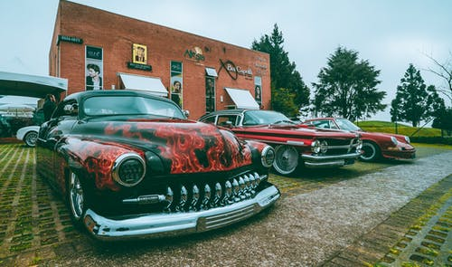 Parked Cars in a Car Show