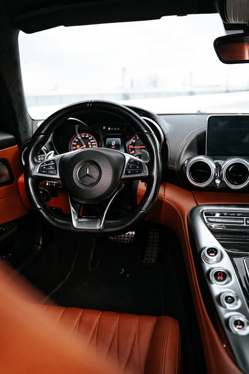 Black and Orange Bmw Steering Wheel