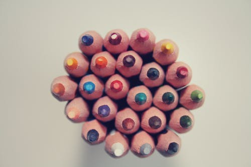 Piled Colored Pencils