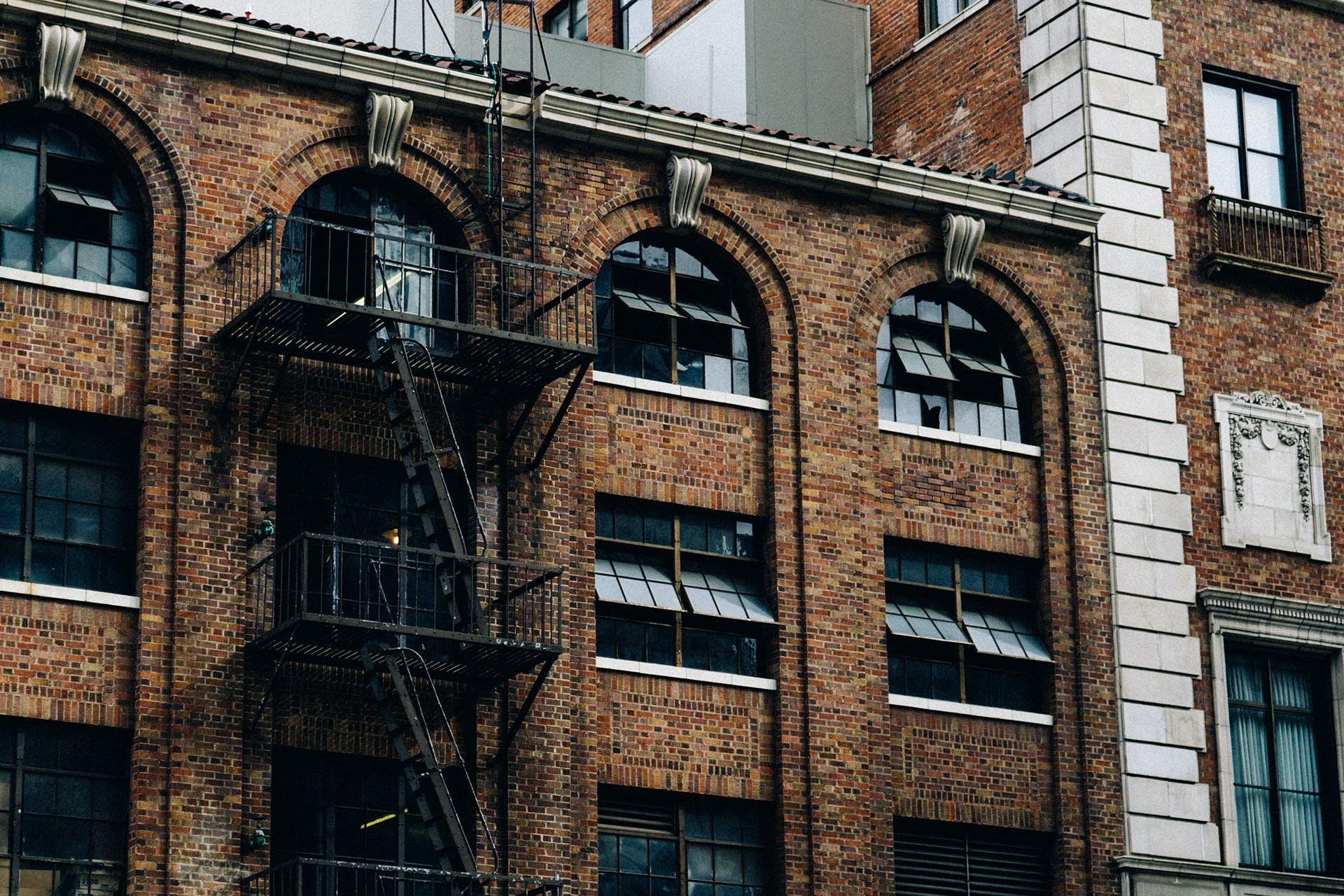 bricks, building, fire escape