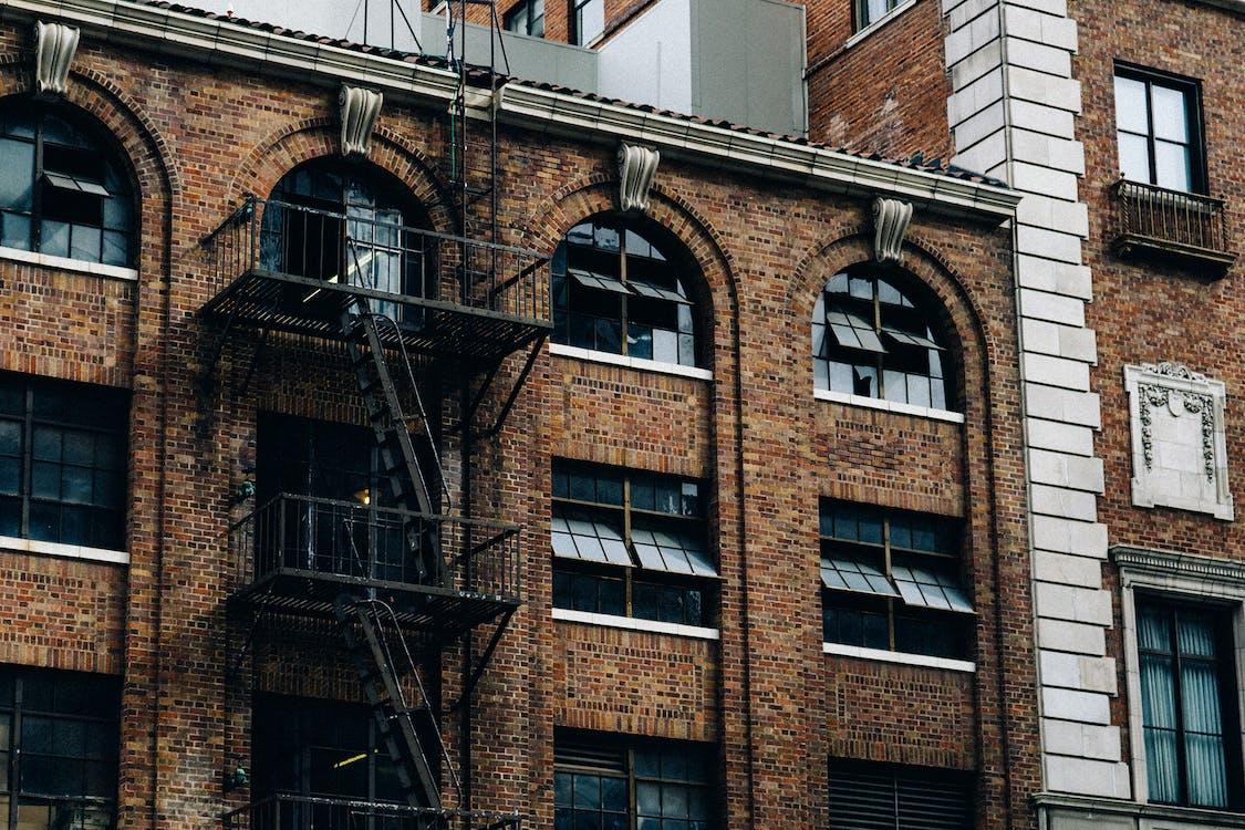 construção, edifício, janelas