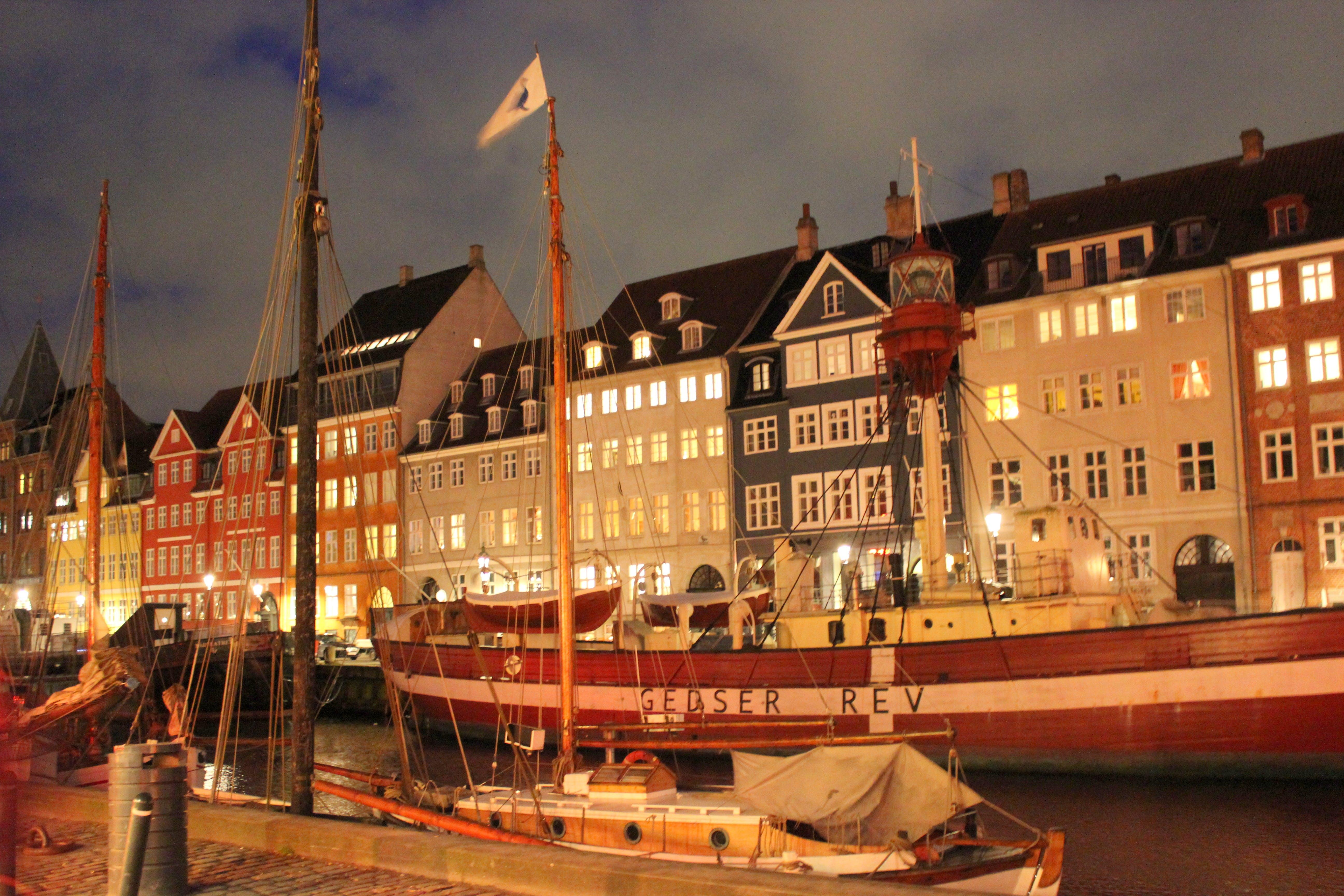 Free stock photo of city, night, color, copenhagen