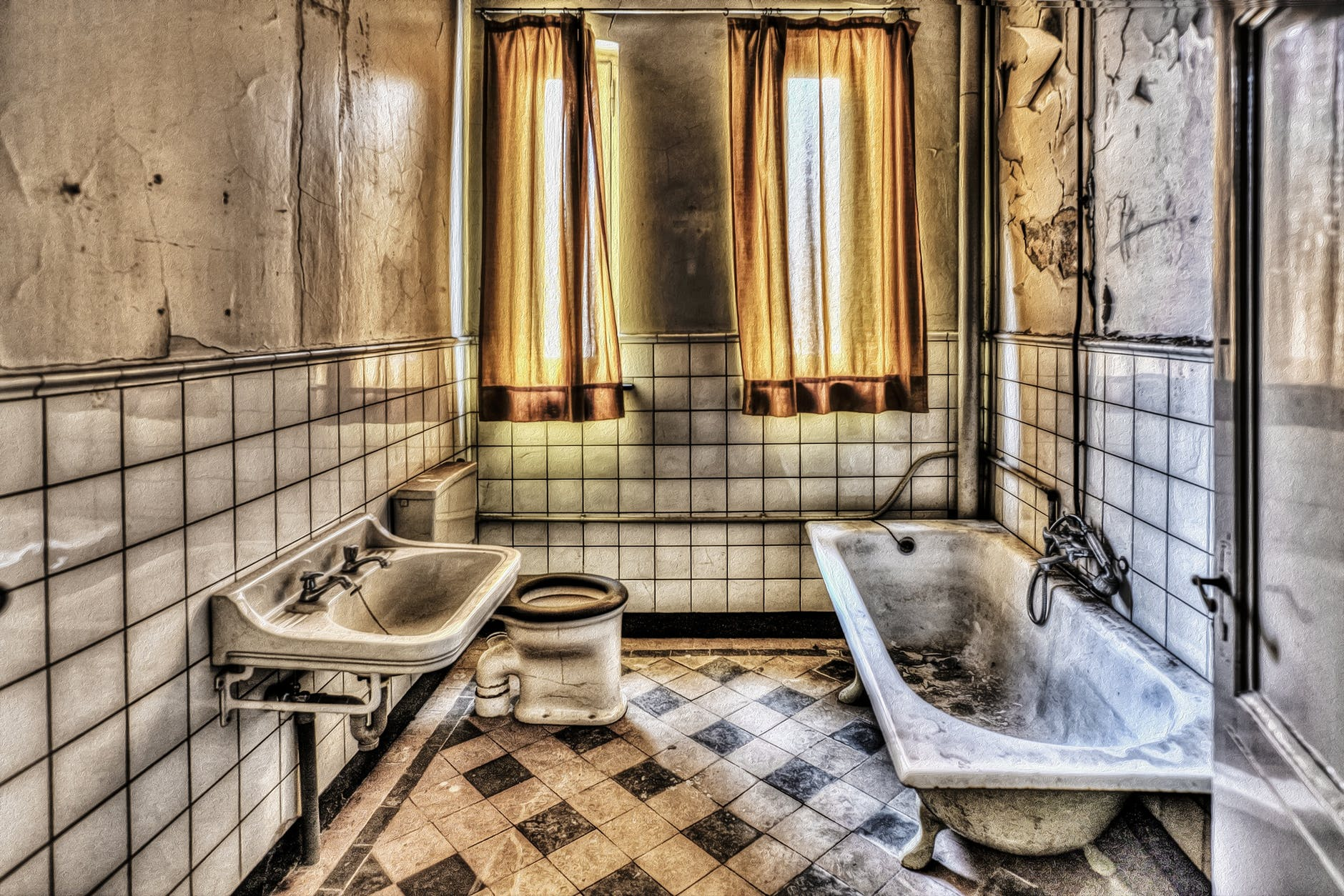 black and whited tile bathroom with brown window curtain - Bathroom Remodel Lansing Mi