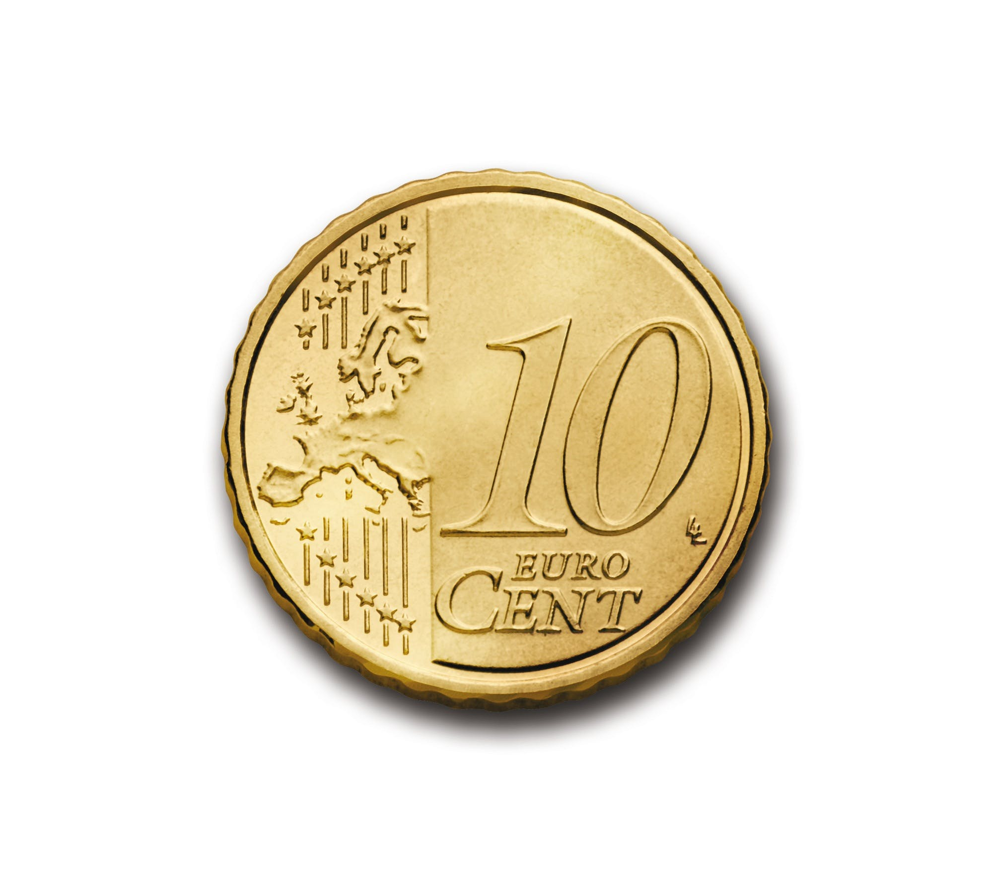 Round Gold-colored 10 Euro Cent Coin
