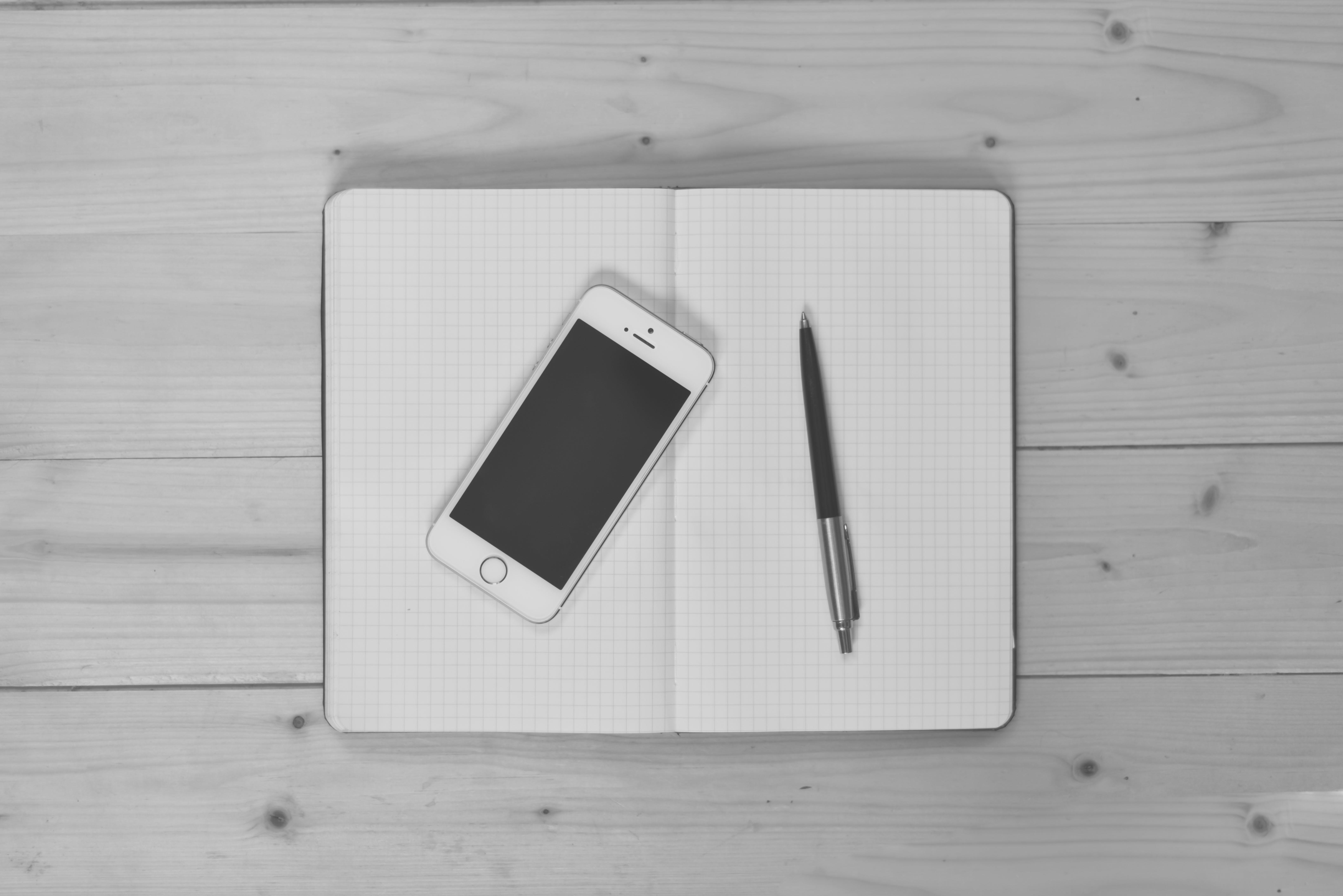 apple, black-and-white, desk