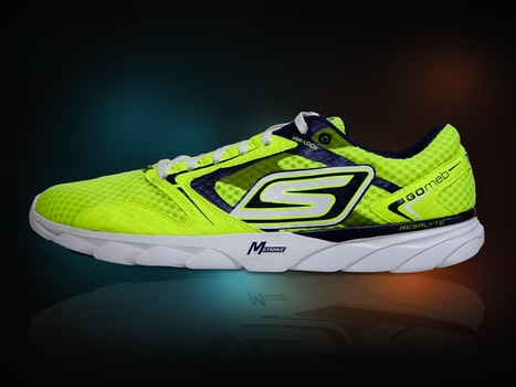 Sketchers Green and Black Shoe