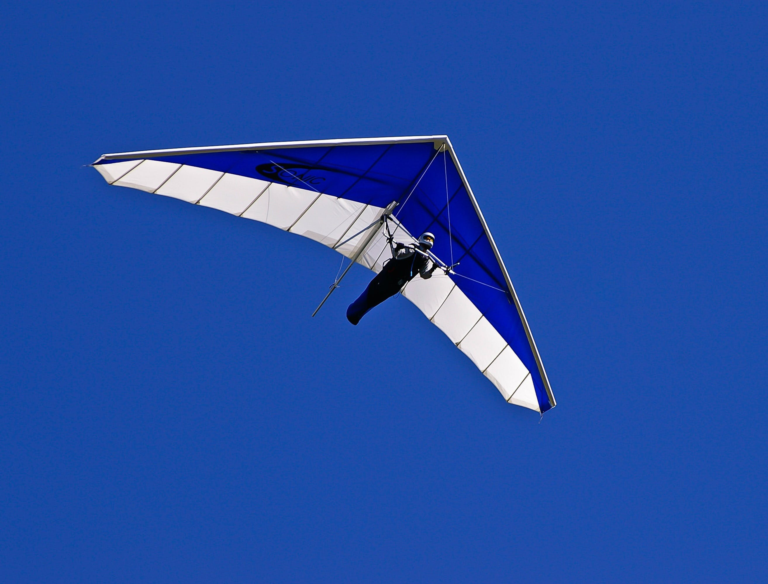 Man on Blue and White Air Glider