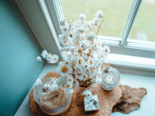 From above of bouquet of fresh daisies in vase near candle on wooden board on windowsill