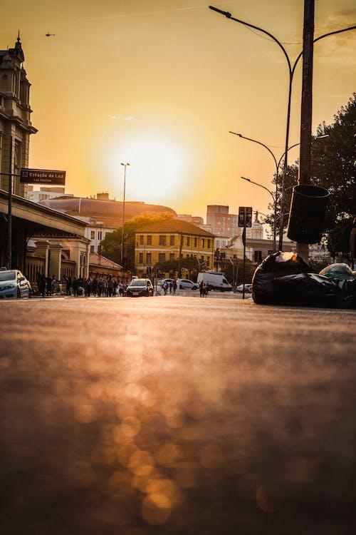 Modern city street at bright sundown
