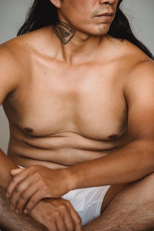 Topless Man in White Underwear