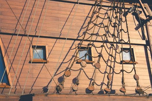 Free stock photo of wood, ship, rope, windows