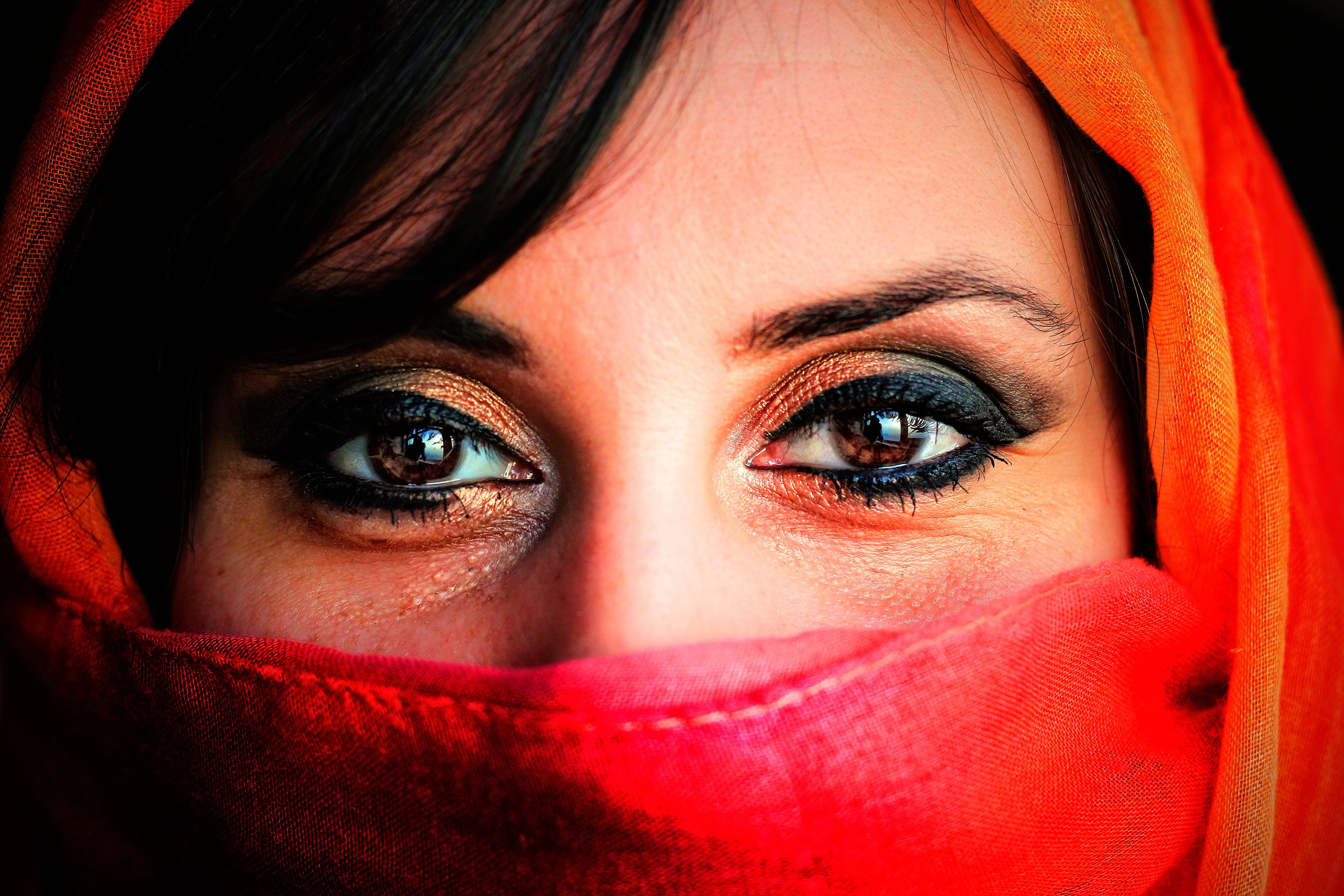 Woman Wearing Orange and Red Hijab Veil