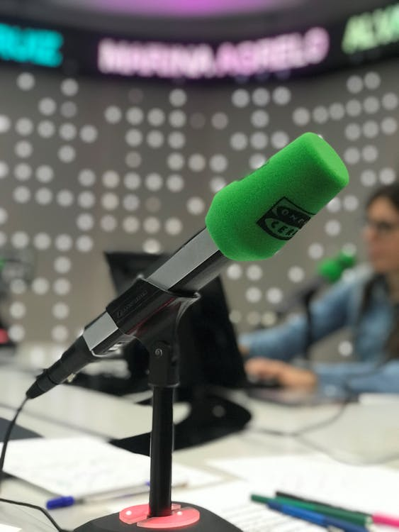 Gray and Black Microphone on Table