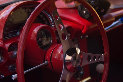 Free stock photo of car, red, stearing wheel