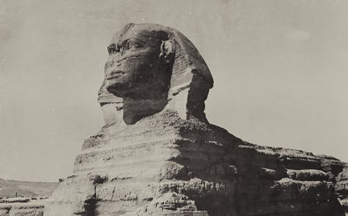 Grayscale Photo Of Great Sphinx Of Giza