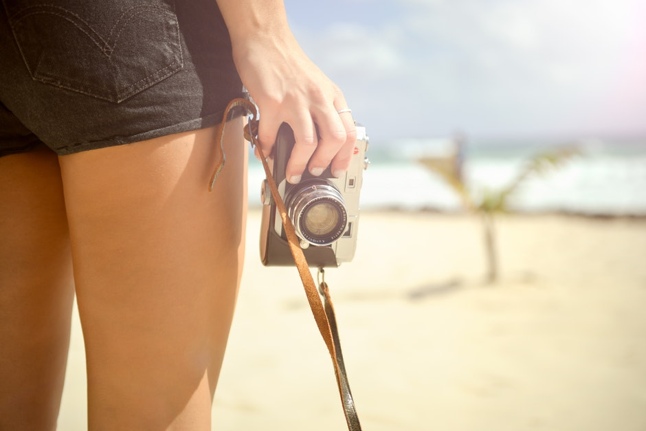 beach, camera, hand