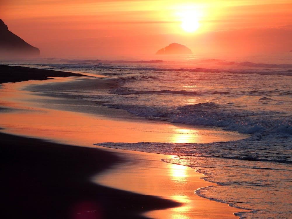 bølger, daggry, hav