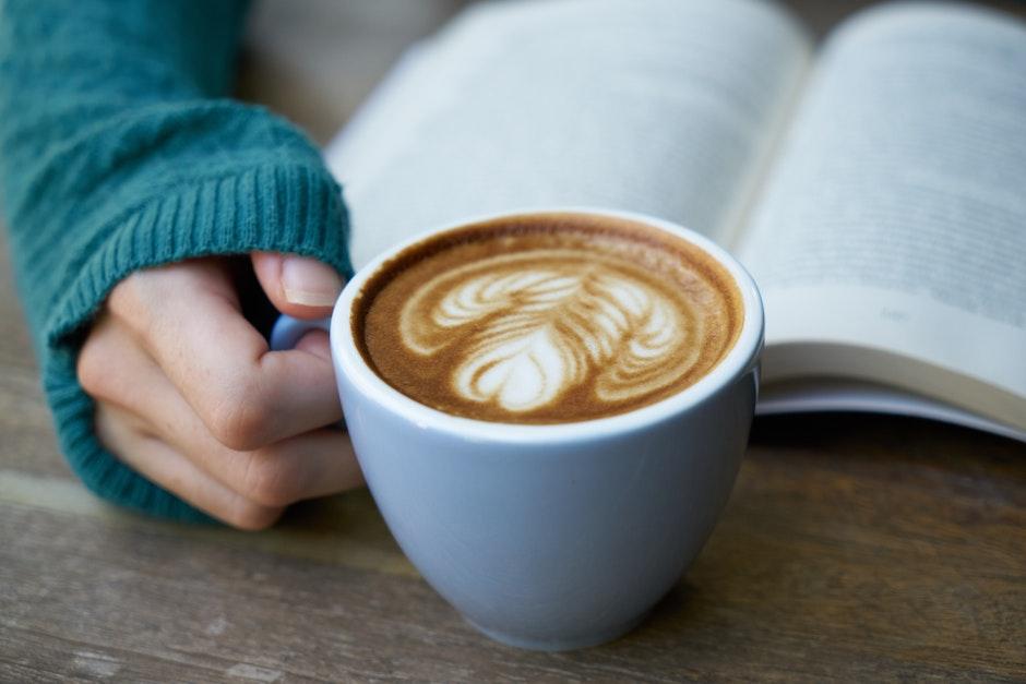 beverage, book, break