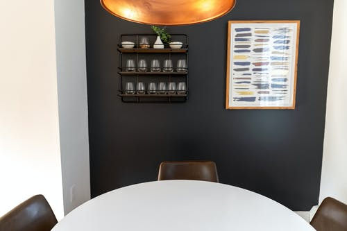 Creative design of modern office interior with decor on wall