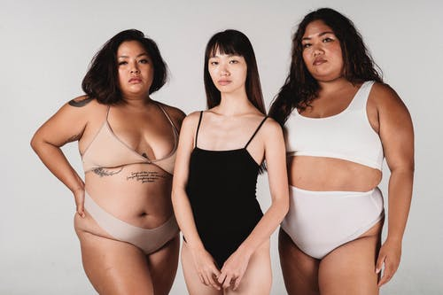 Calm Asian women in lingerie standing together in light studio