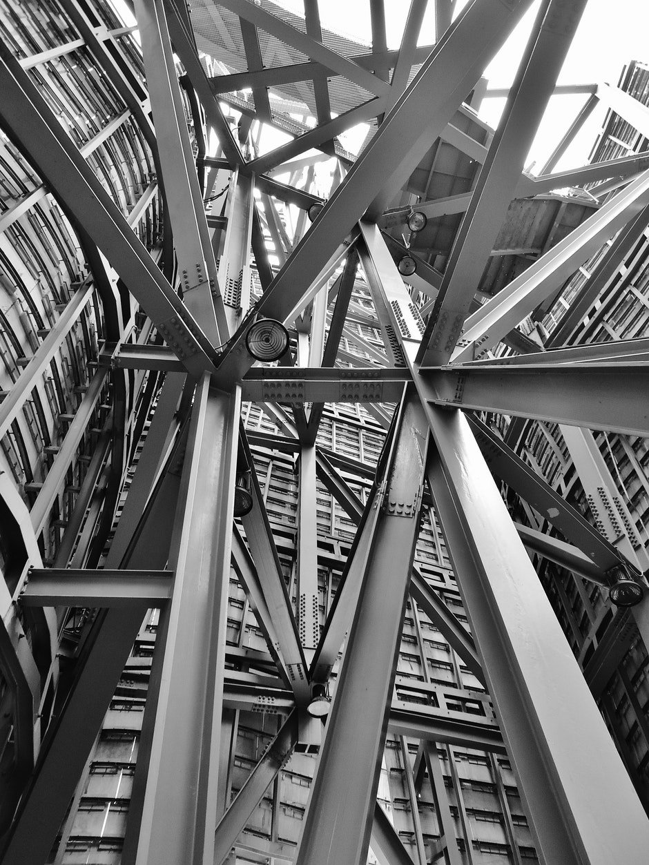 architecture, beams, black-and-white