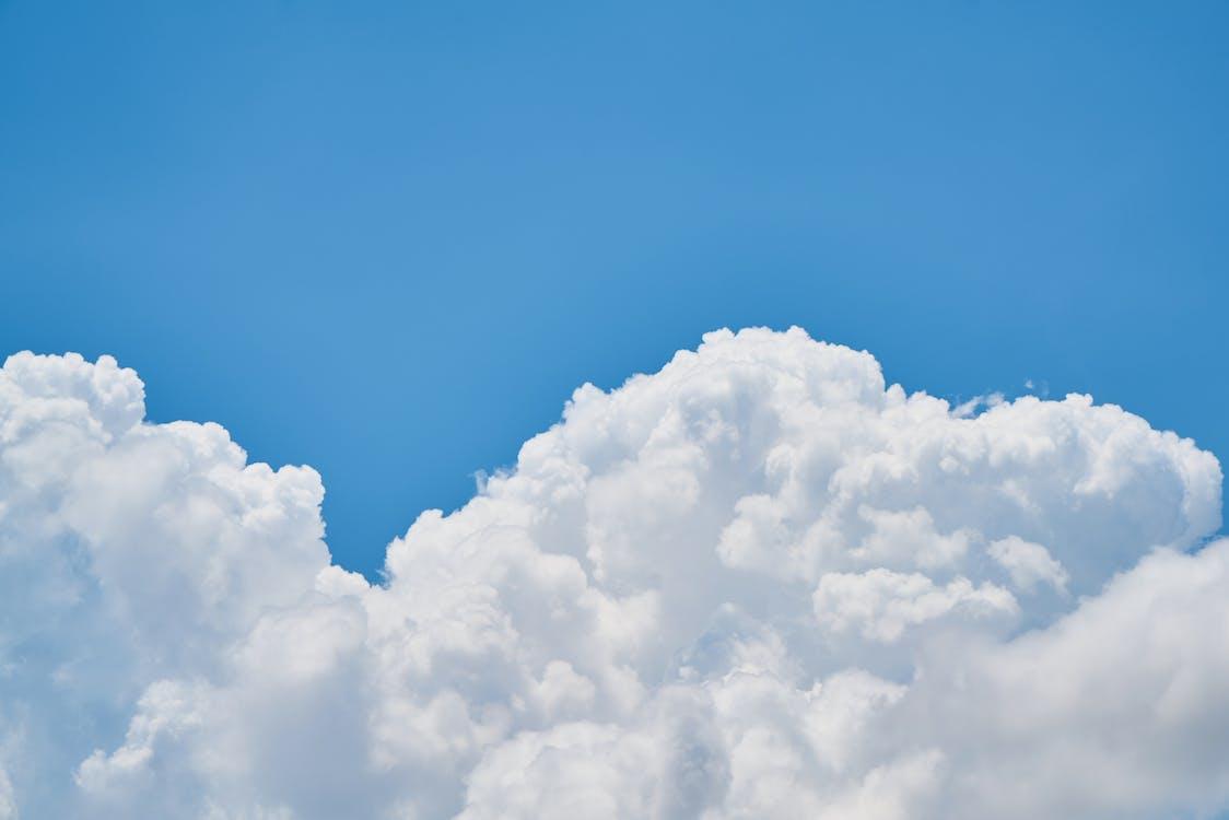 atmosfera, biały, błękitne niebo