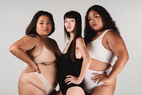 Asian models with different body types in studio