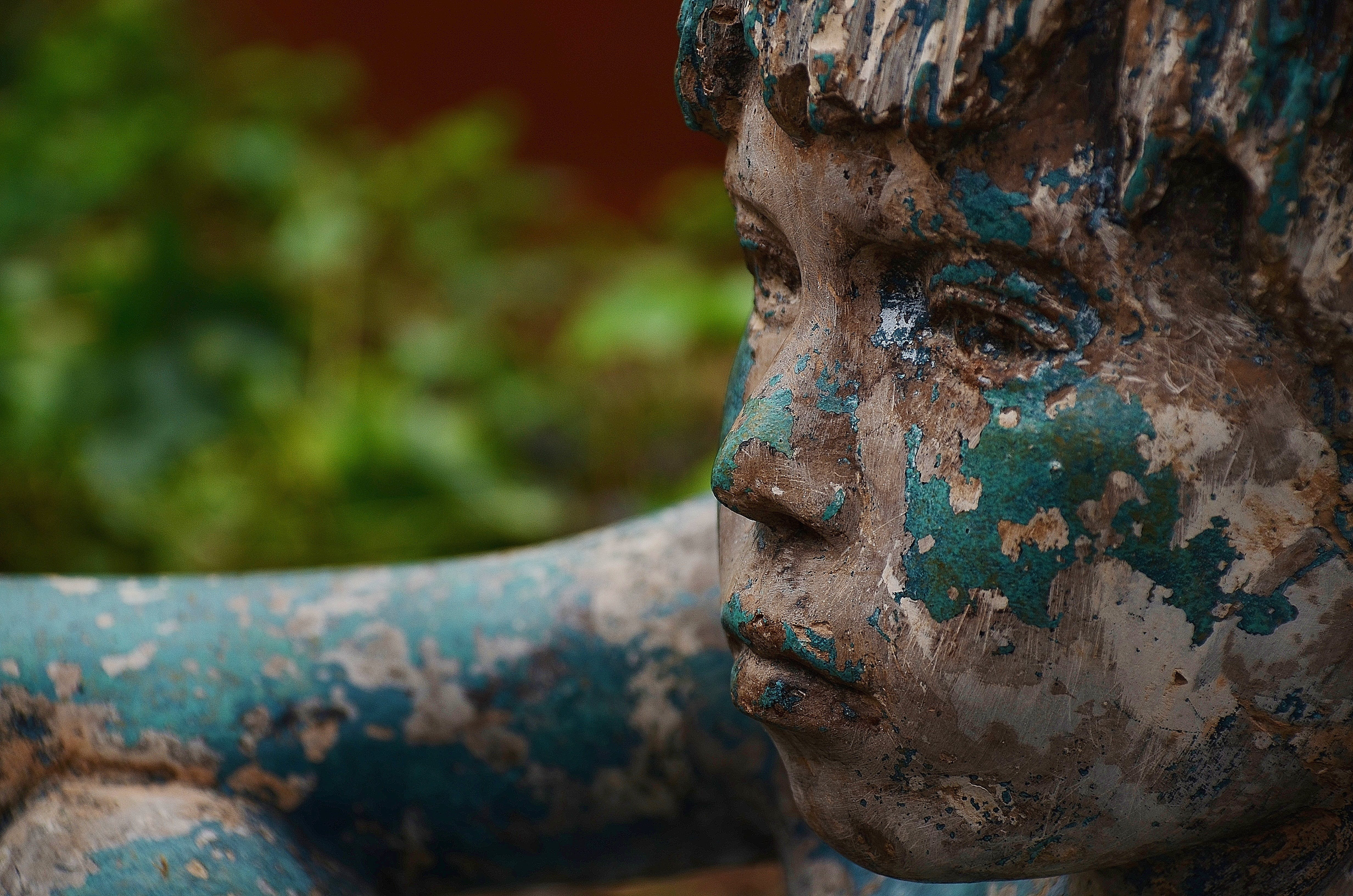 Blue and White Painted Boy Statue