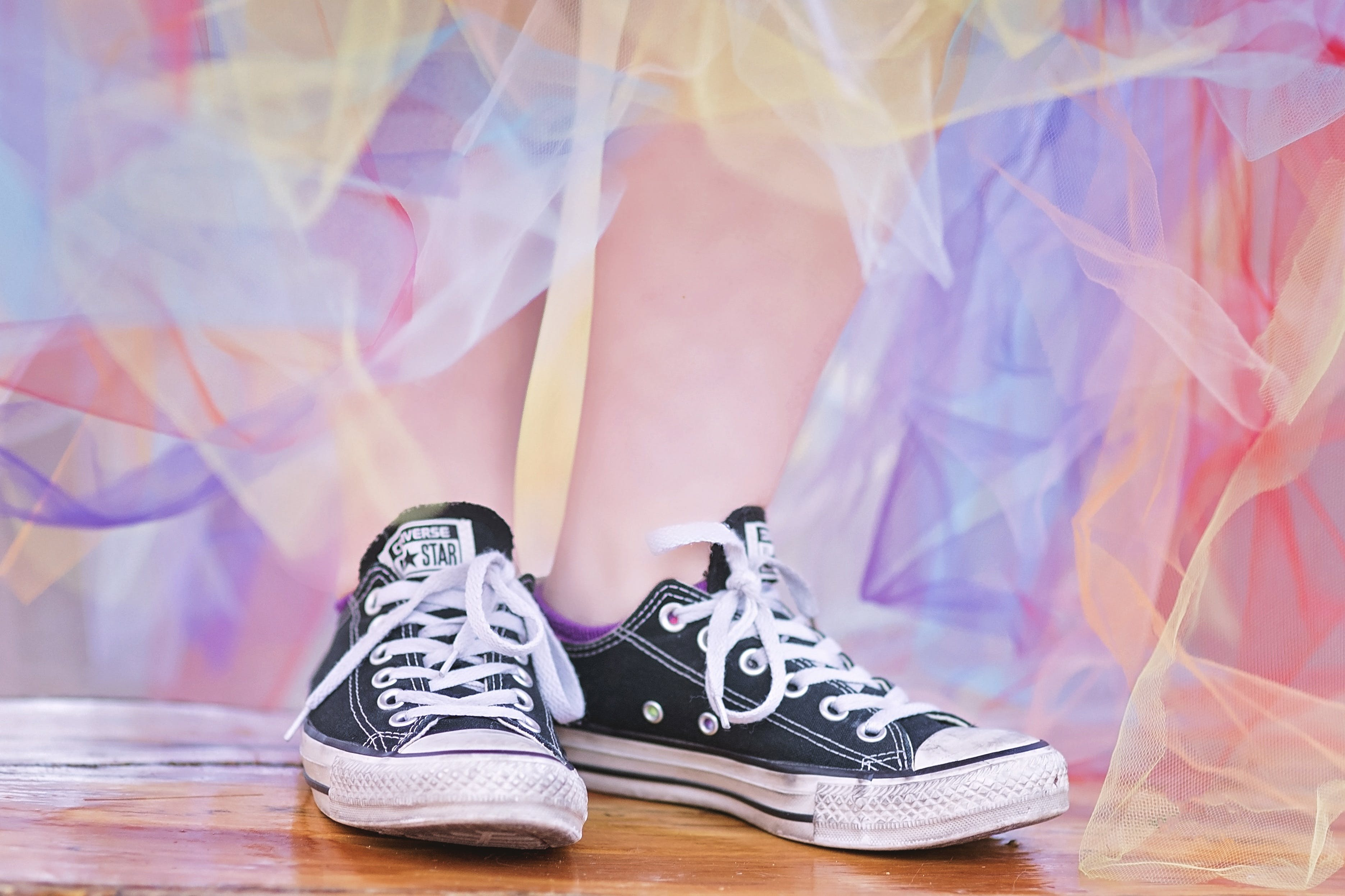 Pair of White-and-black Converse All-star Low-top Sneakers