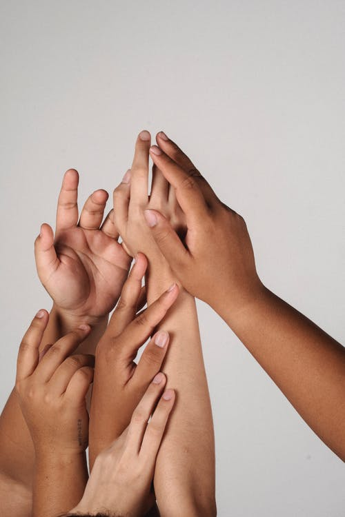 Crop multiracial unrecognizable female joining hands together supporting each other and accepting individuality of each other